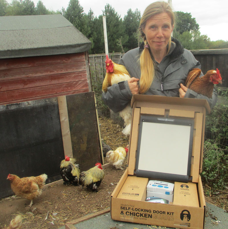 Tracy from Wonky Pet Rescue with her new ChickenGuard Premium Combi
