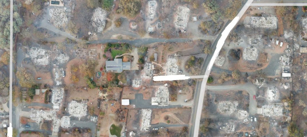 An aerial view of the devisation from the fires in Paradise